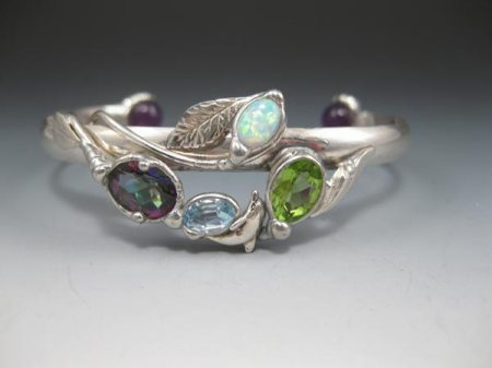 Mystic Topaz,  Blue Topaz, Peridot, Opal, with Amethyst Beads and a Dolphin