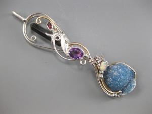 Onyx Point, Pink Tourmaline, Amethyst, Opal, Blue Quartz Druzy with Sterling Silver Dragonfly Accent.