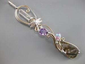 Quartz Point_ Amethyst_ Aurad Topaz_ Epidot in Quartz with Dragonfly Wandlet
