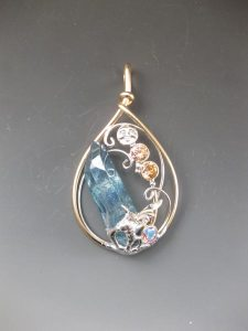 Aqua Aura Point_ and Topaz Pendant