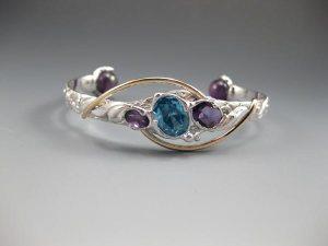 Blue Topaz_ Amethyst_ Amethyst Bracelet