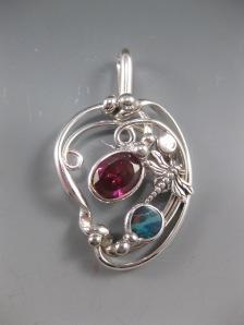 Garnet, Boulder Opal,and Dragonfly Pendant