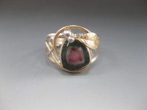 Watermellon Tourmaline Finger Bracelet