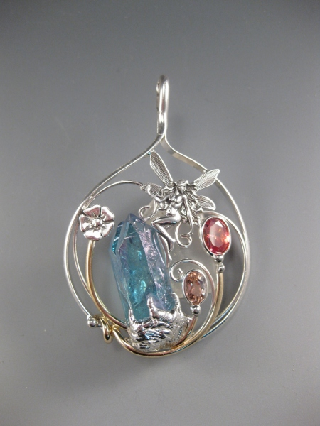 Aqua Aura, Topazes, Large Fairy Pendant